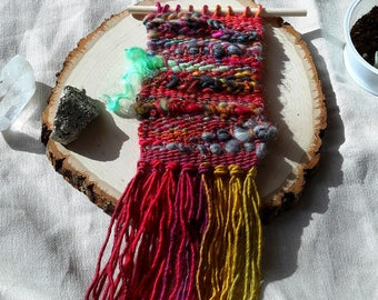 Small Weaving with Hand Spun Wool, Silk, Mohair, Sparkle in reds with gold & green tones