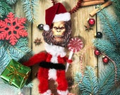 Vintage Style Bigfoot Santa Red Chenille Ornament | Sasquatch |  Cryptozoology Christmas Ornament | Feather Tree | Yeti | Christmas Gift