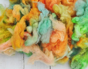 Soft Gorgeous Uncarded Cormo Wool - Hand Dyed - Citrus & Mint - 3.1 ounces