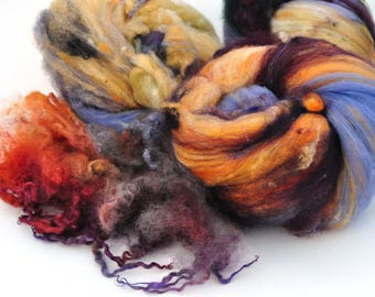 Textured, Chunky Carded Art Batts - Clifftops - 3.7 ounces - For Spinning or Felting