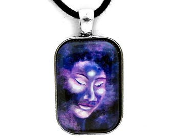 Star Buddha of Equanimity Rectangle Pendant Cosmic Buddha Face Necklace Boho Zen Buddhist Purple Nebula Handmade Spritual Jewelry