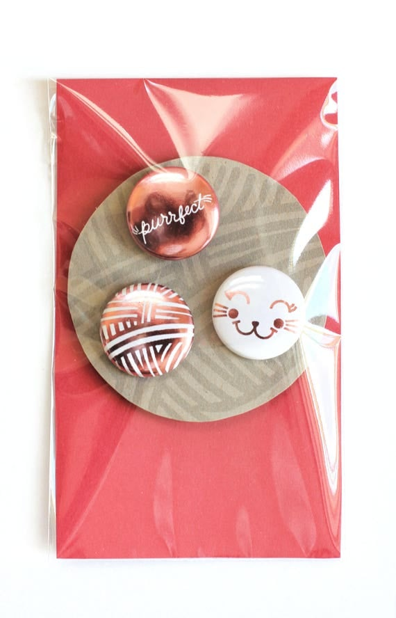 Purrfectly Cute / Pin set. Cute cat pins. Kitten pin set. Yarn ball pin. Cat face pin. Purrfect pin. Fun friend gift. Cute gift for her.