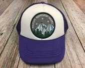 "Girls Toddler/Kid Purple Trucker Hat with ""Mountai..."