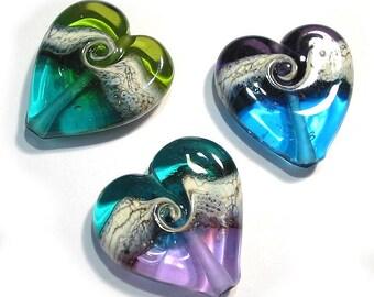 Handmade Glass  Lampwork Beads, Jewel Tone Heart Beads 3