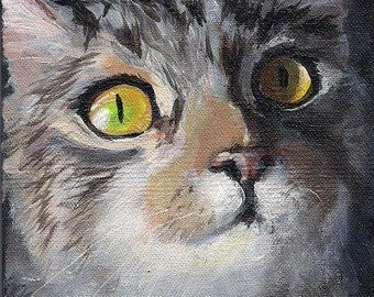 Custom Pet Portrait Oil Paintings, 4 x 4, Cat Art Painting on Sale for Valentine's Day