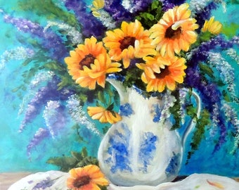 Sunflowers and purple flowers in blue & white vase still life print