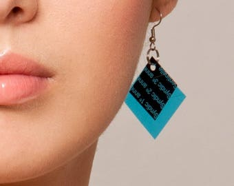 Geometrical Earrings | Blue Earrings | Color Block, Gift For Her, Minimal Jewelry, Modern Earring, Geometric Jewelry, Unique Earring, Edgy