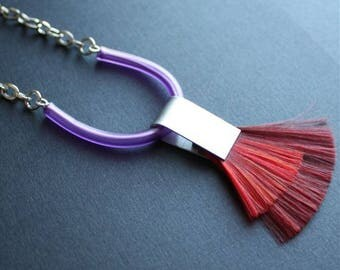 SALE 25% OFF! TRIB unisex necklace, aluminum rubber and hair, purple and red, bold statement jewelry