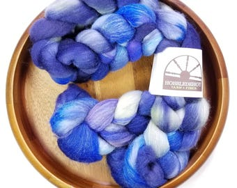 Blueberry Hill - hand-dyed Polwarth wool and silk (4 oz.) combed top roving