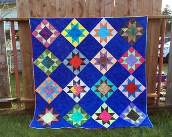 Star Gazing, Lap Quilt, Island Batik, Star Quilt in Bright Colors, Cotton quilt, Patchwork, 68 x 68, Sofa Throw, colorful quilt