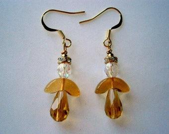 November Angel Earrings, Beaded Topaz Czech Glass Angel Earrings Citrine, Willow Glass, SRAJD