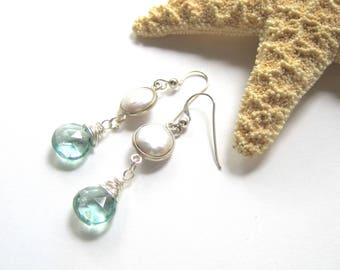 Seafoam Quartz Earrings, White Freshwater Coin Pearls, Ocean Inspired, Dainty Pearl Earrings, Sterling Silver Dangles, Beach Vacation, Gift