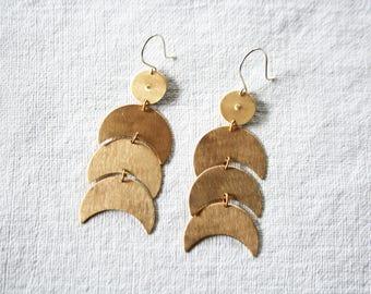 Crescent Earrings, Moon Earrings, Long Earrings, Big Earrings, Statement Earrings, NEW MOON