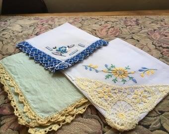 Vintage Hankies Handkerchiefs, Cotton Linens, Embroidery Tatting Crochet