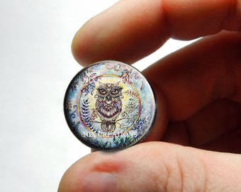 Retro Glass Owl Cabochon for Jewelry and Pendant Making - Design 17