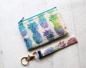 Pineapple gift set - pineapple zippered pouch - pineapple key fob wristlet - gift ideas for sister - pineapple bag - pineapple wristlet
