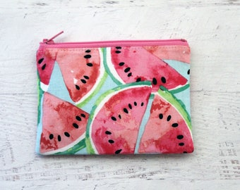 Watermelon zip pouch -watermelon zipper pouch - fruit coin purse - vegan bag - zip pouch - small zipper pouch - under 10 gift