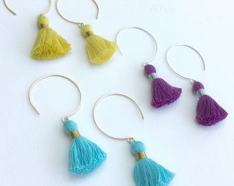 Summer Fun Tassel Earrings Handmade Hammered Wire Circle Dangle Drop Hoops in Sterling Silver or Gold Filled Colorful Cotton Festival Wear