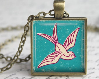 Retro Bird Pendant, Necklace or Key Chain - 1 Inch Square - Choice of Silver, Bronze, Copper or Black Bezel - Vintage Look