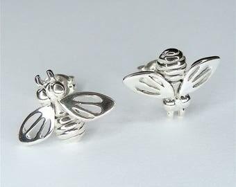 Honey Bee Earrings Bee Studs in Sterling Silver Bee Jewelry