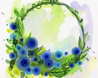 "Blue Wreath watercolor original painting flower art 8""x8"""