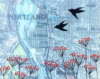 Portland / 6 x 6 Map Painting / Portland Art / Love Birds / Map Art / Modern flower / Modern Decor / Rachel Austin Art / Modern Nursery