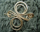 RESERVED for aseaopsfables- Little Celtic Knot Infinite Swirl Cross Brass Shawl Pin