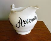 Arsenic hand painted vintage bone china creamer or milk jug recycled /one of a kind/ poison/ humor display decor
