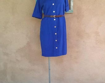 ON SALE Vintage 1960s Shirtdress Blue Cotton Tumbleweeds 60s Day Dress US6