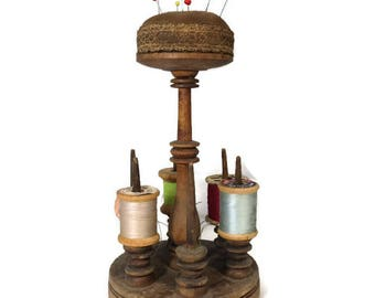 Antique Spool Holder Pin Cushion - Wood Sewing Notion Holder, Wooden Thread Storage