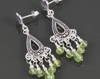 Peridot Chandelier Earrings. Sterling Silver Posts. Marcasite Earrings. August Birthstone. Genuine Gemstone. Vintage Inspired. f17e006