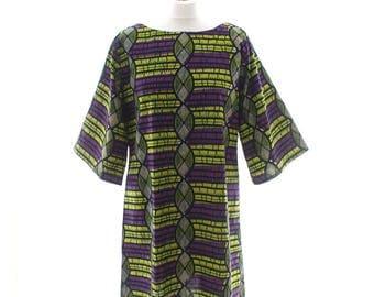 Tunic top, African print Tunic, African Fashion, Purple and Green tunic, African tunic, Ankara Print Dress, Loose fit tunic top, Tunic dress