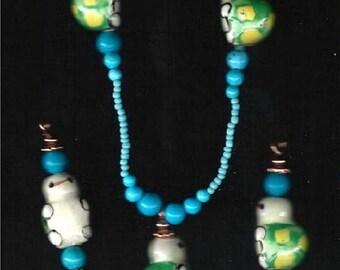 ON SALE Turtle Necklace & Earring Set