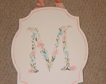 Hand painted floral monogram sign baby's room decor watercolor nursery decor baby shower gift personalized baby gift