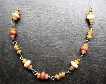 Peach Moonstone, Ruby, Yellow Opal and Brown Quartz Antiqued Sterling Bead Chain - 1 Segment - 6.25 inches in length