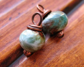 Green Gold Cream and Copper Enamel Bead Charms - 15x10mm - 1 Pair