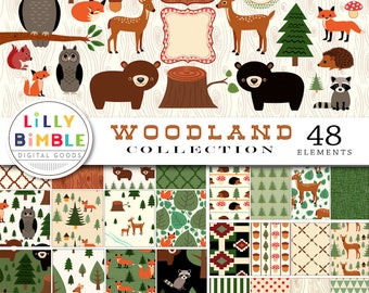40% off WOODLAND COLLECTION digital paper, clipart, bears, deer, forest, owls, clip art, raccoons, fox, hedgehog, squirrels, labels, scrapbo