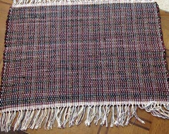 Rag Rug corduroy 18 inches long by 27 inches wide OOAK Home Decor Floor Rug
