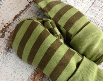 MEMORIAL DAY SALE- Cotton Jersey Mittens--Young Child-Green Stripes