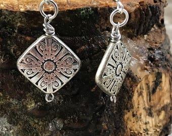Metal Etched Earrings-Weathered Silver--Boho Earrings-