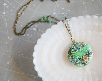 Tropic Leaf and floral brass locket- long chain- czech glass bead accent- modern bohemian