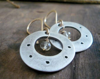 NEW Soleil Collection Orbital Earrings - Oxidized fine silver. 14kt Goldfill. Scapolite. Mixed Metal. Handmade
