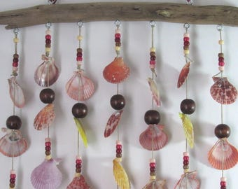 Mobile Seashell Wind Chime, Handcrafted with Driftwood, Seashells and Beads, Backyard  Porch Decoration, Great Gift for Grandma and Grandpa