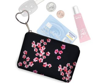 Small Zipper Pouch Coin Purse Keychain Key Fob Floral Fabric Business Card Holder Purse Organizer Japanese Cherry Blossom pnk black red RTS