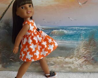 Sale 14 and 14.5 Inch Doll Dress Cute Halloween Ghosts on Orange Background with Black Accents Fits Dolls like H4H Last One