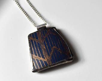 Broken China Jewelry Pendant - Blue and Gold Chevron