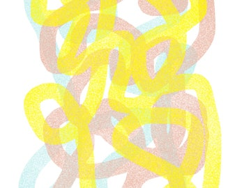 Pastel Yellow, Blue and Pink Tangle: Modern Art Print