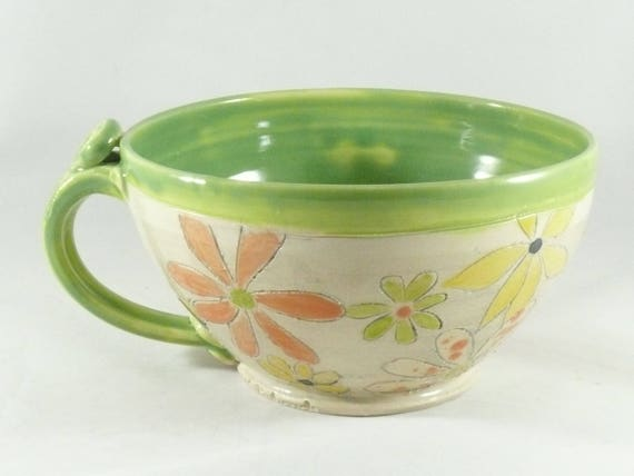 Pottery Soup Mug or Latte Cup, Oversized Mug,  Save the Bees ceramics and pottery, Ceramic Soup bowls with handles, Cappuccino cup 849