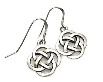 Celtic Open Round Knot Earrings Fine Silver Plated Pewter with Sterling Silver Earwires Gift Boxed