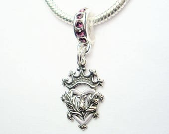 Scottish Luckenbooth Heart Large Hole European Bead Amethyst Crystal Rondelle Thistle Detailing